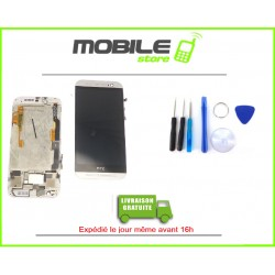 VITRE TACTILE + LCD + CHASSIS HTC M8 COULEUR GRIS ET BLANC