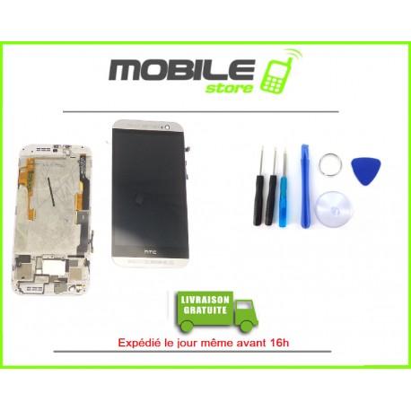 VITRE TACTILE + LCD + CHASSIS POUR HTC M8 COULEUR GRIS ET BLANC