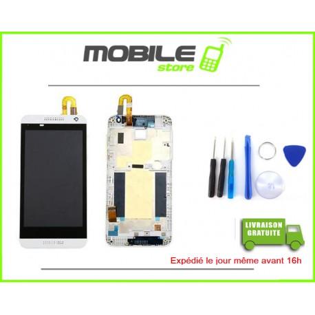 VITRE TACTILE + LCD + CHASSIS POUR HTC 610 COULEUR BLANC