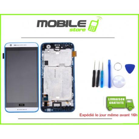 VITRE TACTILE + LCD + CHASSIS POUR HTC 620 COULEUR BLANC ET BLEU