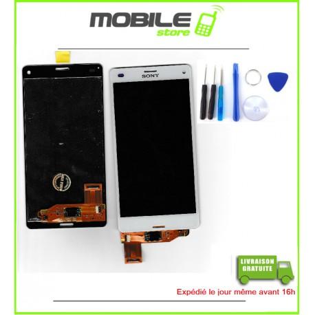 VITRE TACTILE + LCD POUR SONY Z3 MINI ET D5803 COULEUR BLANC