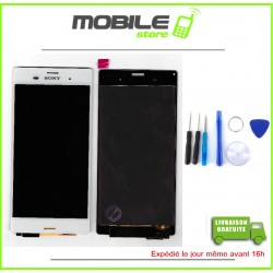 VITRE TACTILE + LCD POUR SONY Z3 ET D6603 COULEUR BLANC