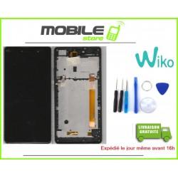 VITRE TACTILE + LCD + CHASSIS ORIGINAL POUR WIKO FEVER 4G COULEUR NOIR ET GRIS