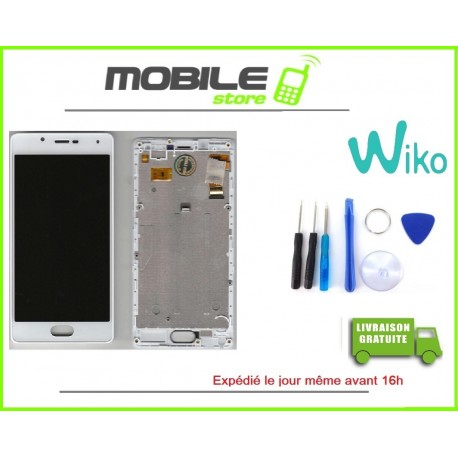VITRE TACTILE + LCD + CHASSIS ORIGINAL POUR WIKO UFEEL LITE 4G COULEUR BLANC