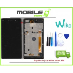 VITRE TACTILE + LCD + CHASSIS ORIGINAL WIKO FEVER 4G COULEUR NOIR ET OR GOLD