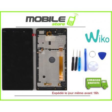 VITRE TACTILE + LCD + CHASSIS ORIGINAL POUR WIKO FEVER 4G COULEUR NOIR ET OR GOLD