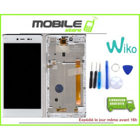 VITRE TACTILE + LCD + CHASSIS ORIGINAL POUR WIKO FEVER 4G COULEUR BLANC ET OR GOLD